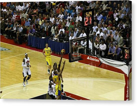 Basketball Teams Canvas Print - Kobe Olympic Layup by Steven Hanson