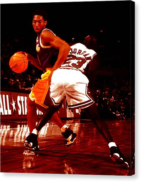 Magic Johnson Canvas Print - Kobe Spin Move by Brian Reaves