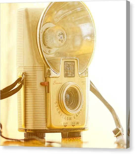 Vintage Camera Canvas Print - Kodak Brownie Starflash Camera by Jon Woodhams