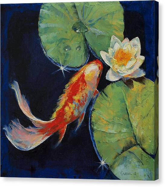 Japanese Garden Canvas Print - Koi And White Lily by Michael Creese