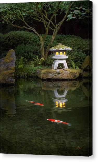Koi By Lantern Light Canvas Print