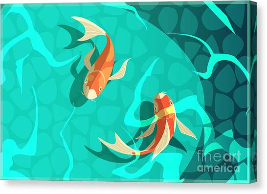 Lucky Canvas Print - Koi Carp Japanese  Symbol Of Luck by Macrovector