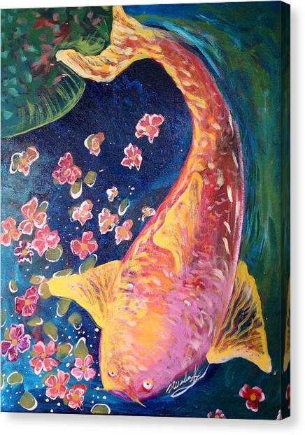 Koi Fish Canvas Print by Michaela Kraemer