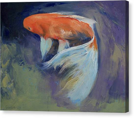 Blending Canvas Print - Koi Fish Painting by Michael Creese