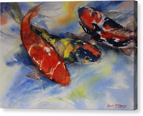 Koi Party Canvas Print by Enola McClincey