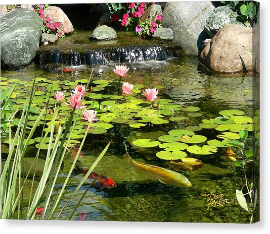 Lily Pond Canvas Print - Koi Pond by Doug Kreuger