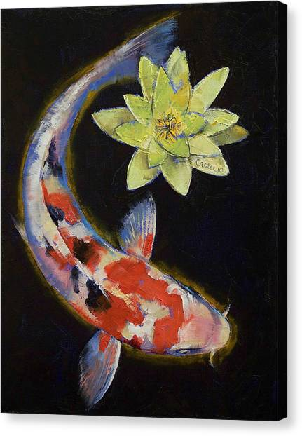 Koi Fish Canvas Print - Koi With Yellow Water Lily by Michael Creese