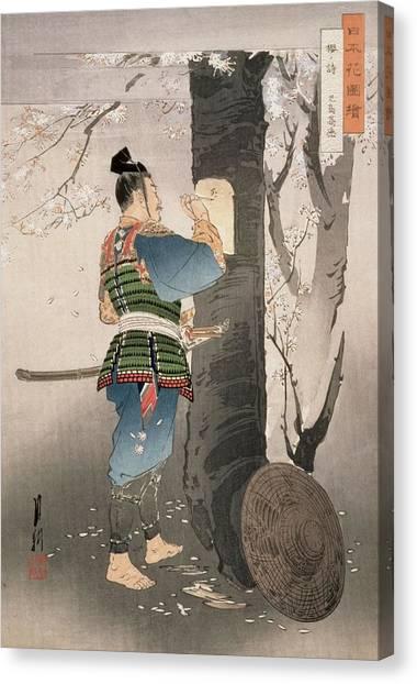 Samurai Canvas Print - Kojima Takanori Writing A Poem by Ogata Gekko