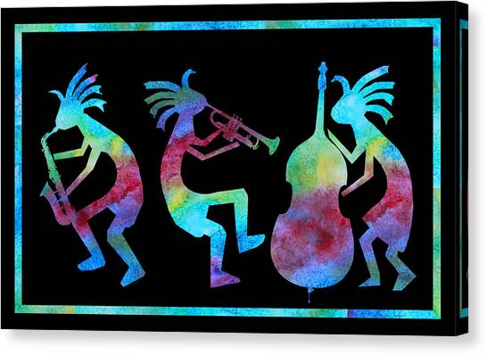 Music Canvas Print - Kokopelli Jazz Trio by Jenny Armitage