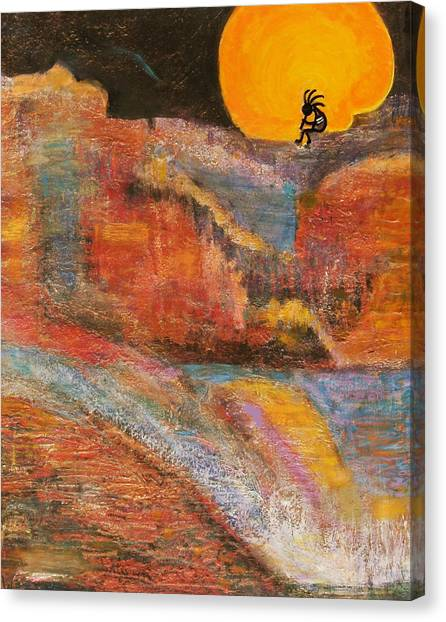 Kokopelli On A Marmalade Moon Night Revisited Canvas Print by Anne-Elizabeth Whiteway