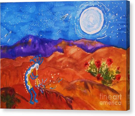 Kokopelli Playing To The Moon Canvas Print