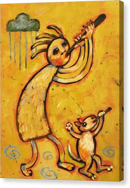 Kokopelli Canvas Print - Kokopelli With Musical Dog by Carol Suzanne Niebuhr