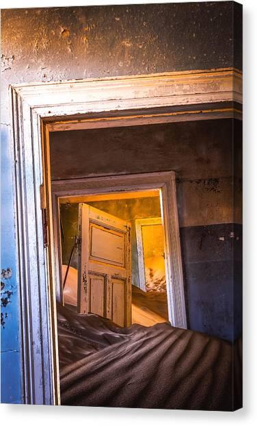 Town Canvas Print - Kolmanskop - Blue Room by Xenia Ivanoff-erb