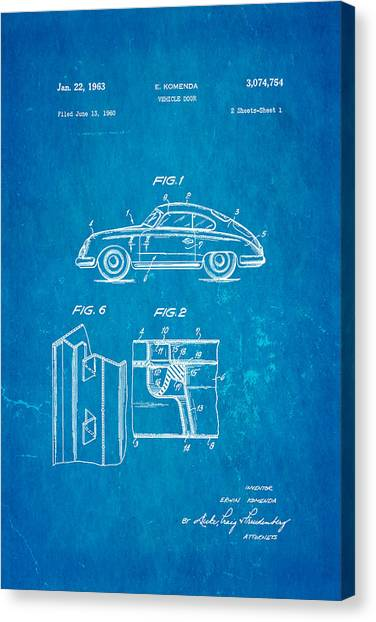 Car blueprint canvas prints page 6 of 25 fine art america car blueprint canvas print komenda porsche vehicle door design patent art 1963 blueprint by ian malvernweather Gallery