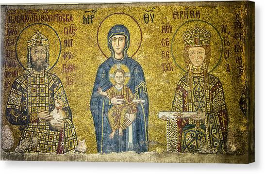 Byzantine Canvas Print - Komnenos Mosaic by Stephen Stookey