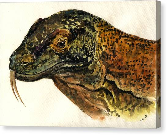 Dragons Canvas Print - Komodo Monitor by Juan  Bosco