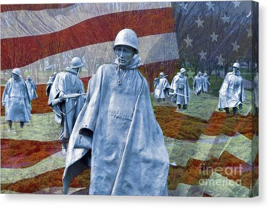 Korean War Veterans Memorial Bronze Sculpture American Flag Canvas Print