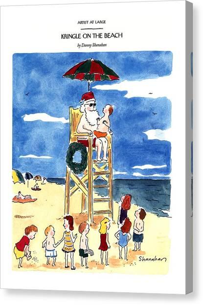 Kringle On The Beach Canvas Print