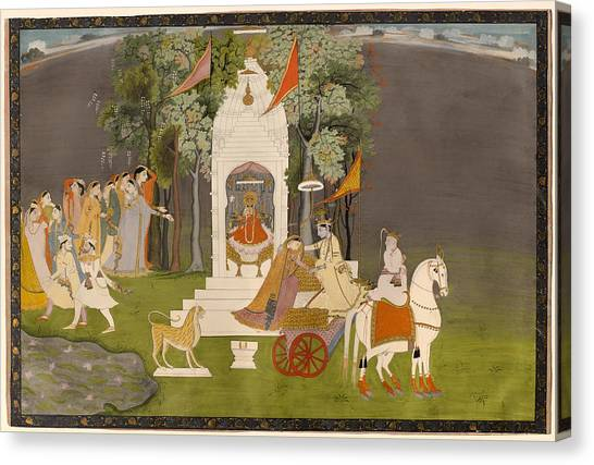 Incarnation Canvas Print - Krishna Abducting Rukmani From The Temple by Mountain Dreams