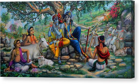 Flutes Canvas Print - Krishna And Balaram With Friends On Govardhan Hill by Vrindavan Das