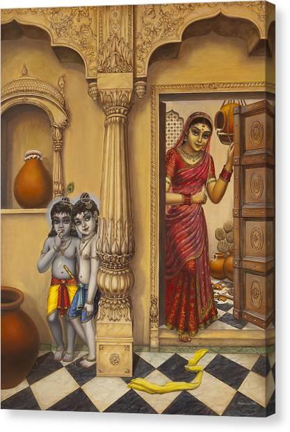 Flutes Canvas Print - Krishna And Ballaram Butter Thiefs by Vrindavan Das