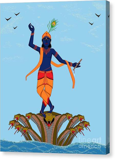 Krishna Dancing On Kaliya Canvas Print