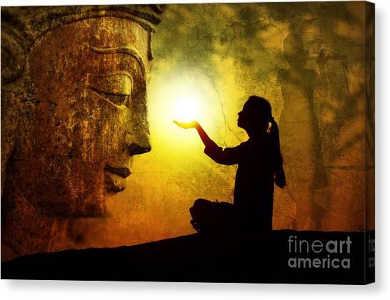 Karma Canvas Print - Krishna Devotion by Tim Gainey