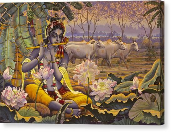 Flutes Canvas Print - Krishna. Evening Flute by Vrindavan Das