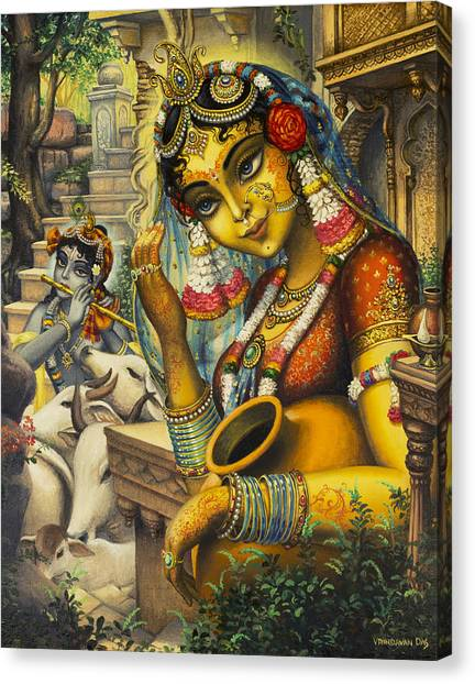 Flutes Canvas Print - Krishna Is Here by Vrindavan Das