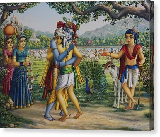 Krishna With His Dear Friend  Canvas Print