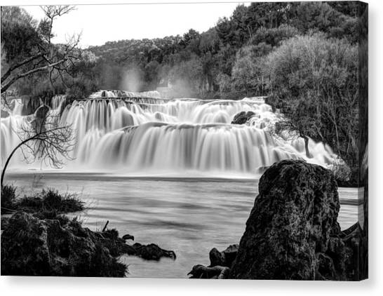 Krka Waterfalls Bw Canvas Print