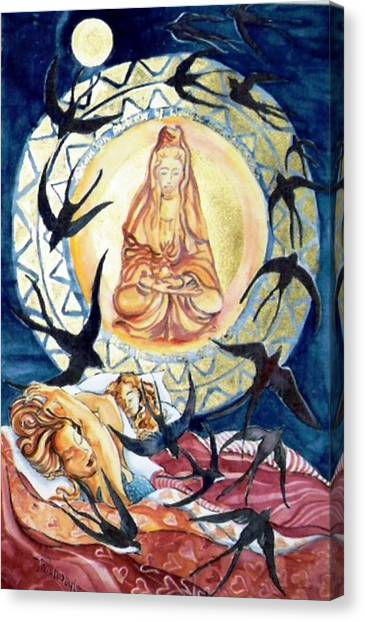 Kuan Yin  Born From A Ray Of Light  Canvas Print by Trudi Doyle