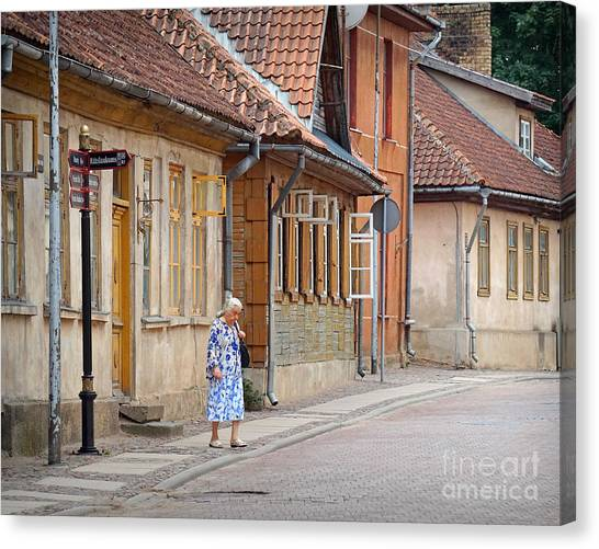 Kuldiga Street Crossing Canvas Print