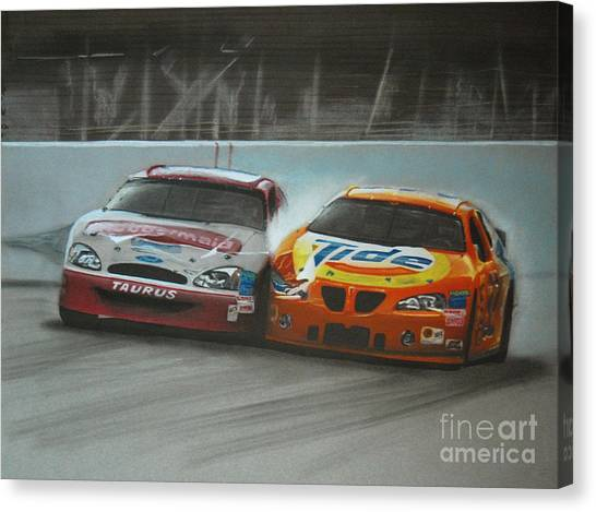 Kurt Busch Canvas Print - Kurt Busch And Ricky Craven-2003 Darlington Finish by Paul Kuras