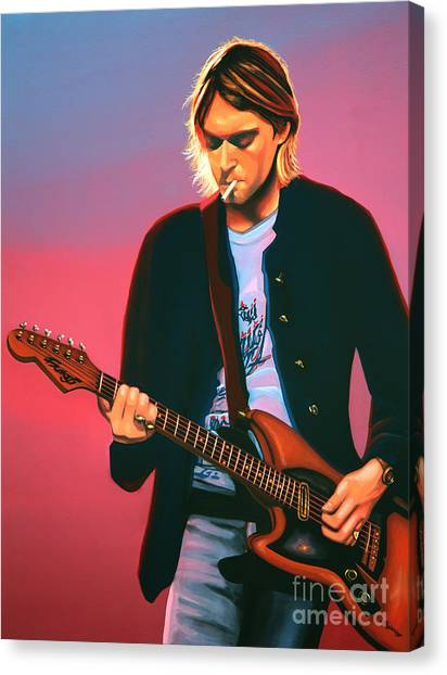 Rights Canvas Print - Kurt Cobain In Nirvana Painting by Paul Meijering