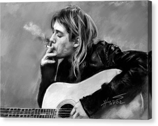Nirvana Canvas Print - Kurt Cobain Guitar  by Viola El