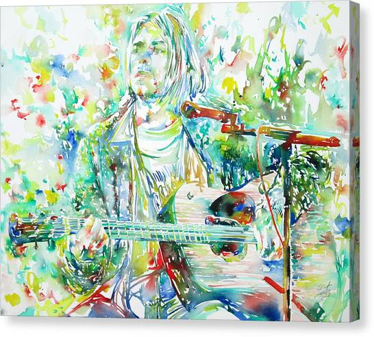 Microphones Canvas Print - Kurt Cobain Playing The Guitar - Watercolor Portrait by Fabrizio Cassetta