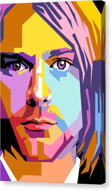 Kurt Cobain Canvas Print - Kurt Cobain Pop Art by Ahmad Nusyirwan