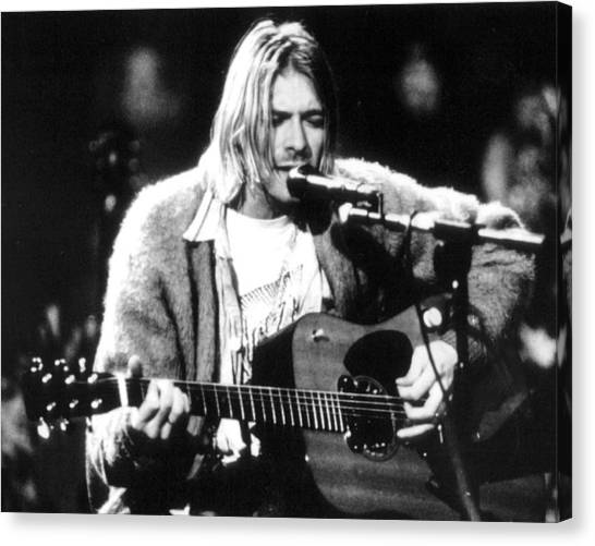 Nirvana Canvas Print - Kurt Cobain Singing And Playing Guitar by Retro Images Archive