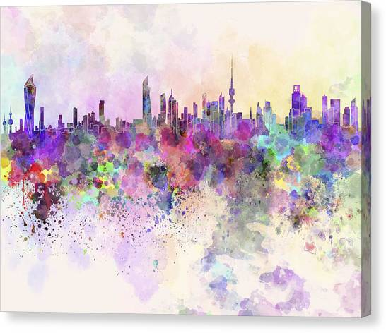 Kuwait Canvas Print - Kuwait City Skyline In Watercolor Background by Pablo Romero