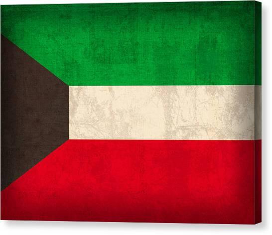 Kuwait Canvas Print - Kuwait Flag Vintage Distressed Finish by Design Turnpike