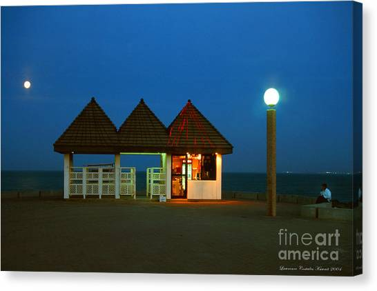 Kuwaiti Pier Snack Bar At Dusk Canvas Print by Lawrence Costales