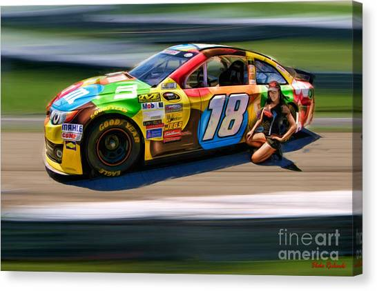 Kyle Busch Canvas Print - Kyle Busch And Miss San Francisco Myisha Collins by Blake Richards