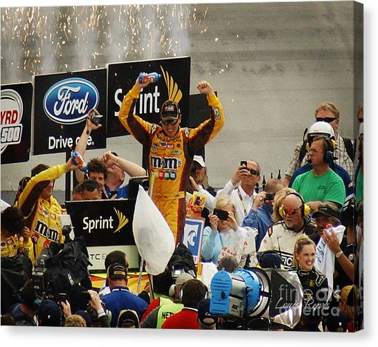 Kyle Busch Canvas Print - Kyle Busch In The Winner's Circle by Louise Reeves