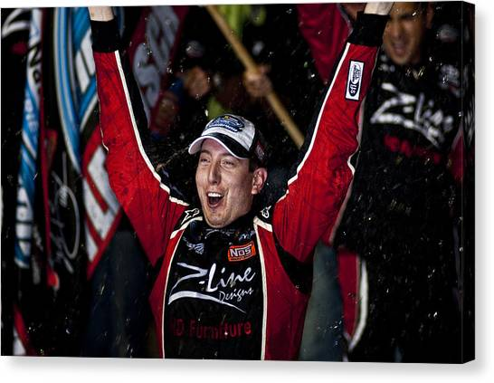 Kyle Busch Canvas Print - Kyle Busch Wins Nns by Kevin Cable