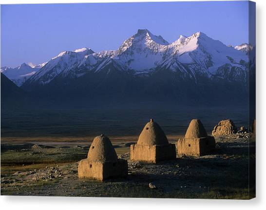Hindu Kush Canvas Print - Kyrgyz Burial Shrines Sit On A Hill by Beth Wald