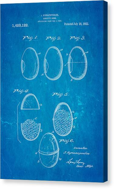 Nra Canvas Print - Kyriazopoulos Confetti Bomb Patent Art 1922 Blueprint by Ian Monk