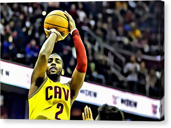 Kyrie Irving Canvas Print - Kyrie Irving Jumpshot by Florian Rodarte