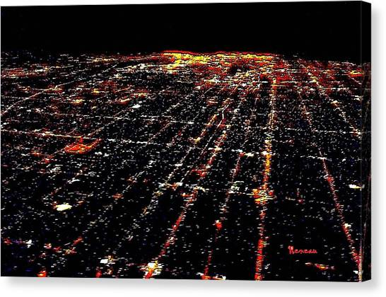 L A Skyscape At Night Canvas Print