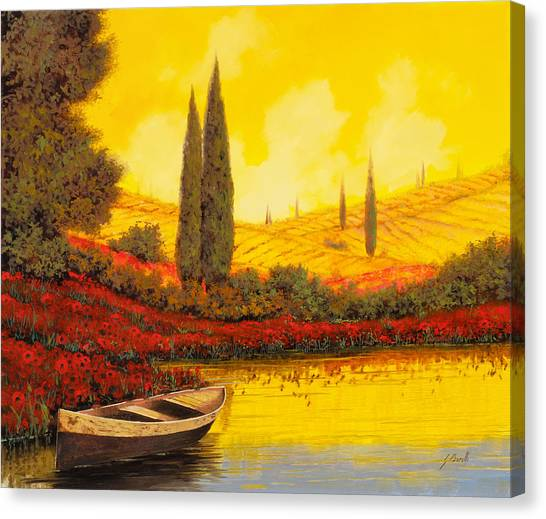 The Sky Canvas Print - La Barca Al Tramonto by Guido Borelli